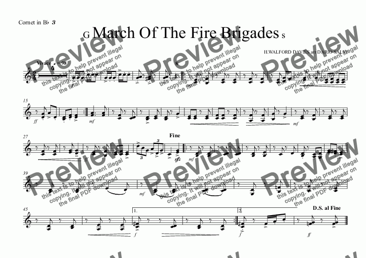 page one of the Cornet in B^b^ ^3 part from Grand March Of The Fire Brigades - UK