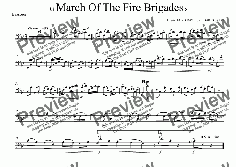 page one of the Bassoon part from Grand March Of The Fire Brigades - UK