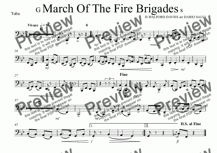 page one of the Tuba part from Grand March Of The Fire Brigades - UK