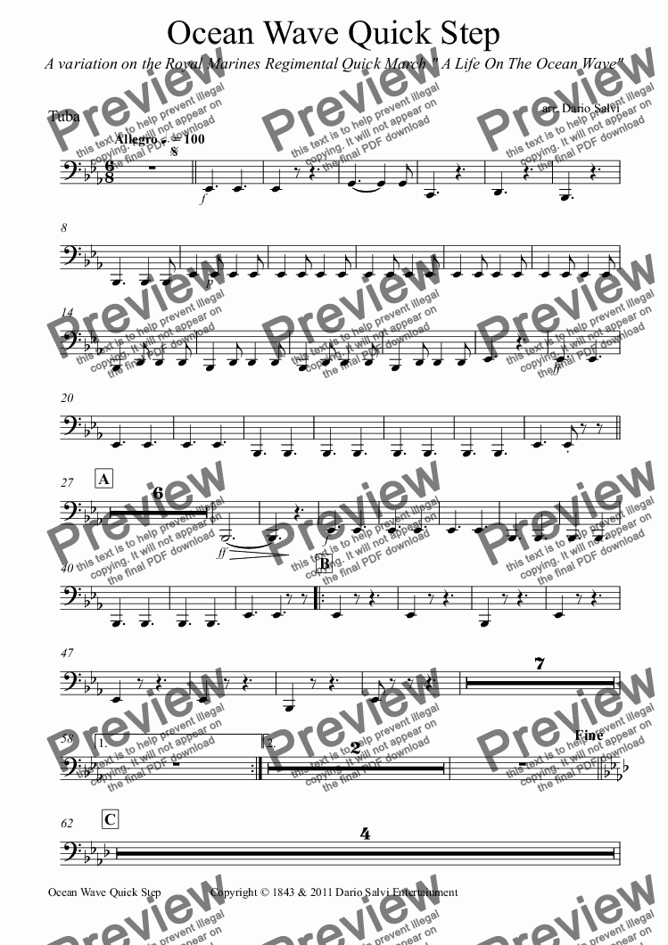 page one of the Tuba part from Ocean Wave Quick Step
