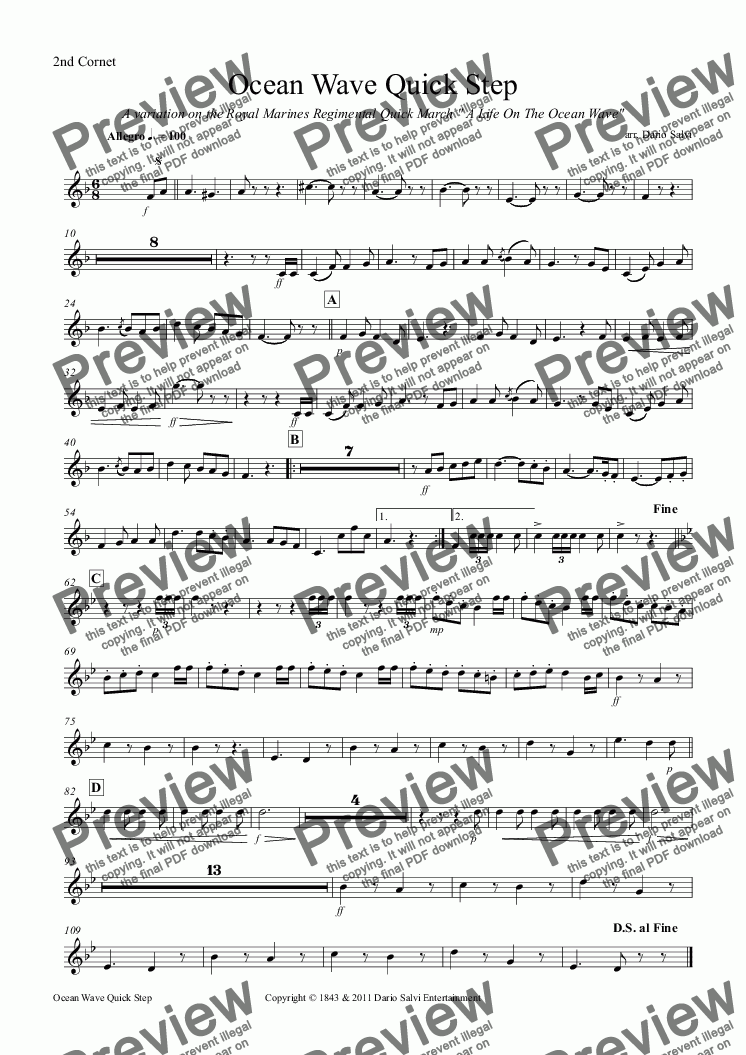 page one of the 2nd Cornet part from Ocean Wave Quick Step