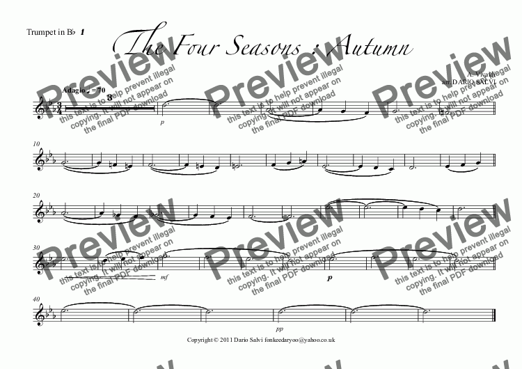 page one of the Trumpet in B^b^ ^1 part from The Four Seasons : Autumn
