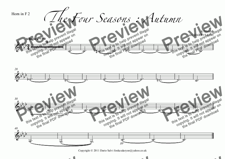 page one of the Horn in F 2 part from The Four Seasons : Autumn