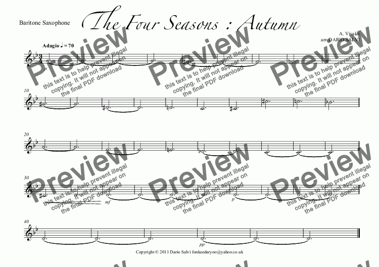 page one of the Baritone Saxophone part from The Four Seasons : Autumn