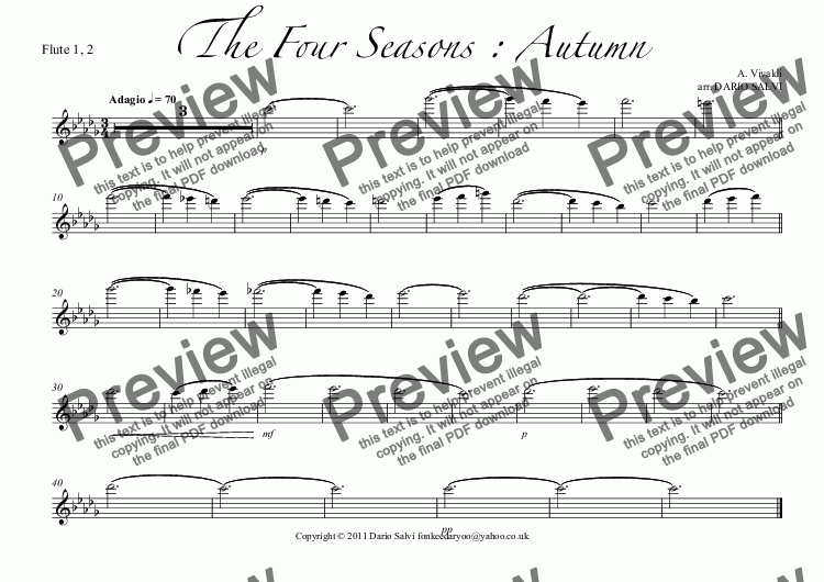 page one of the Flute 1, 2 part from The Four Seasons : Autumn