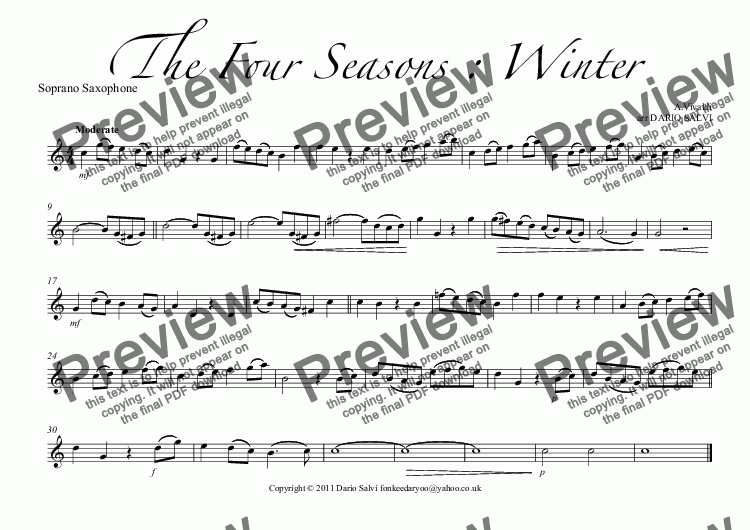 page one of the Soprano Saxophone part from The Four Seasons : Winter
