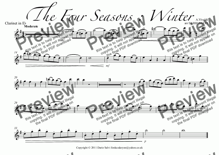 page one of the Clarinet in E^b part from The Four Seasons : Winter