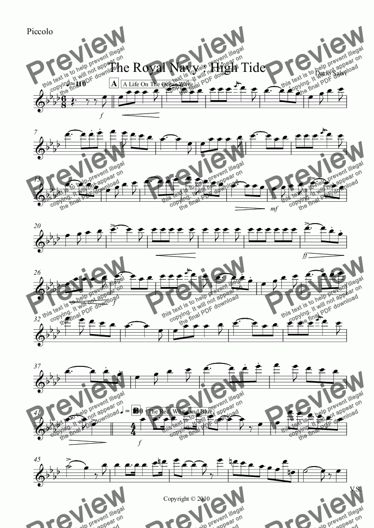 page one of the Piccolo part from The Royal Navy : High Tide
