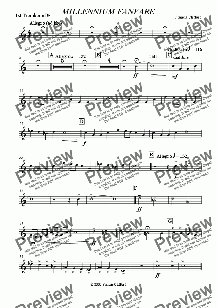 page one of the 1st Trombone in Bb part from Millennium Fanfare (10 Piece Brass)