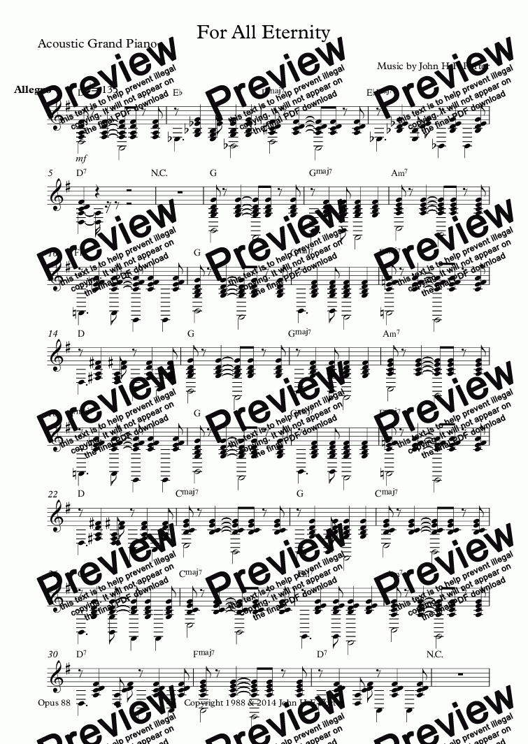 page one of the Acoustic Grand Piano part from For All Eternity