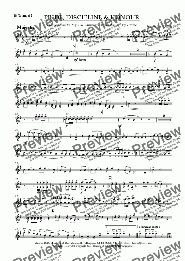 page one of the Bb Trumpet 1 part from Pride, Discipline and Honour (Slow March)