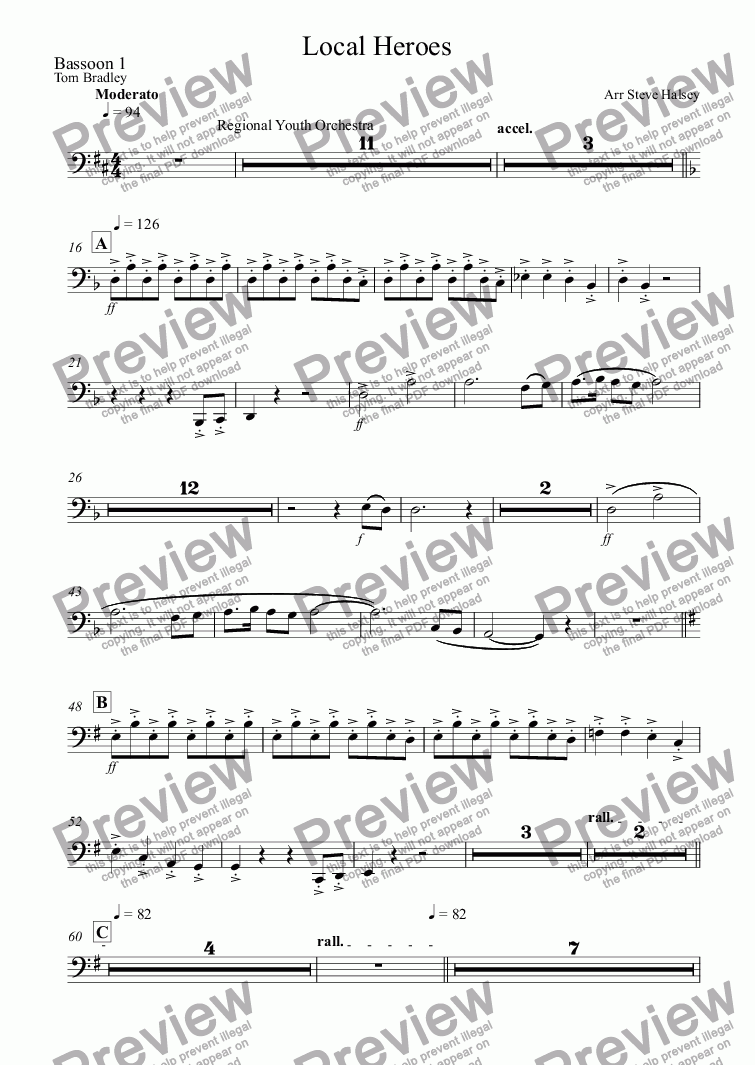 page one of the Bassoon 1 part from Local Heroes