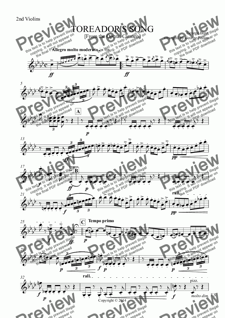 page one of the 2nd Violins part from TOREADOR'S SONG for Trumpet and Orchestra