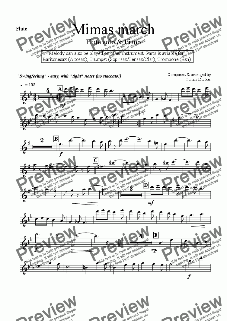 page one of the Flute part from Mimas March (wind solo w/piano)