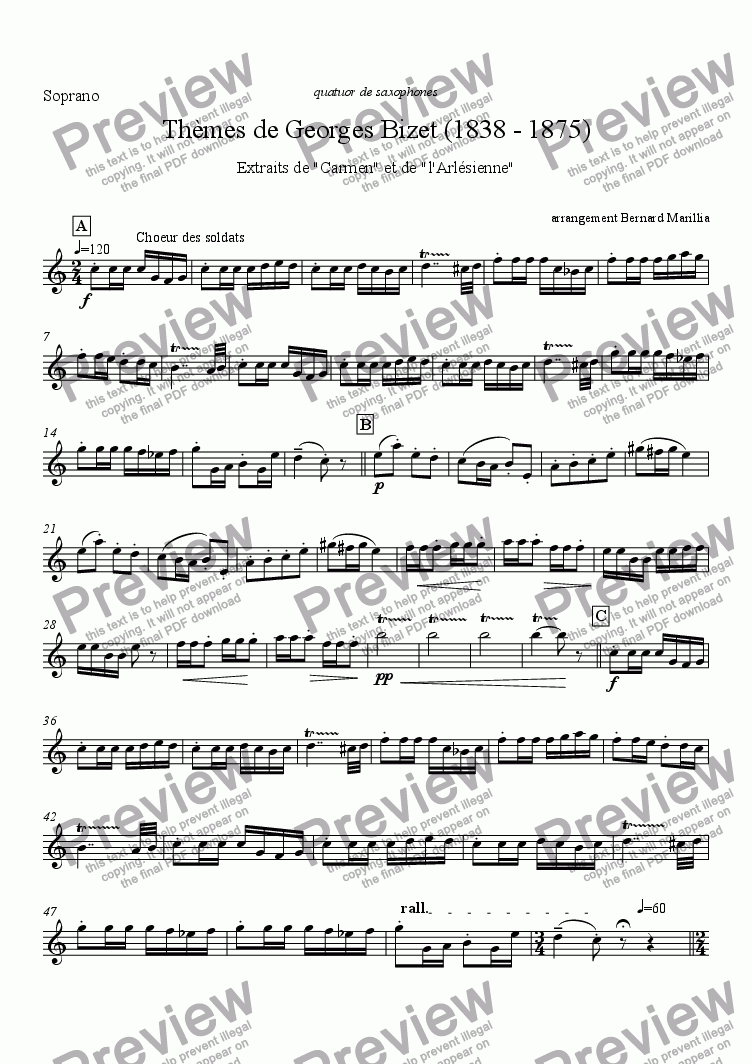 page one of the Soprano Sax part from Bizet - Th�mes de Carmen & l'Arlesienne (sax quartet)
