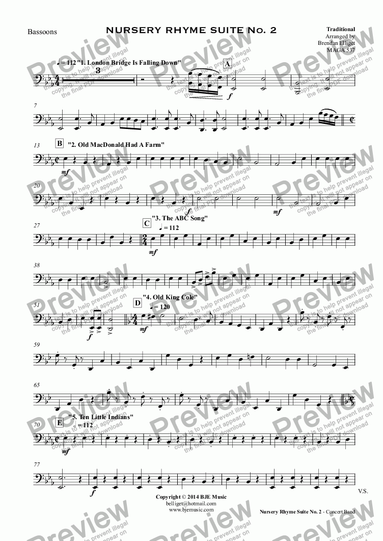 page one of the Bassoons part from NURSERY RHYME SUITE No. 2 (Concert Band)