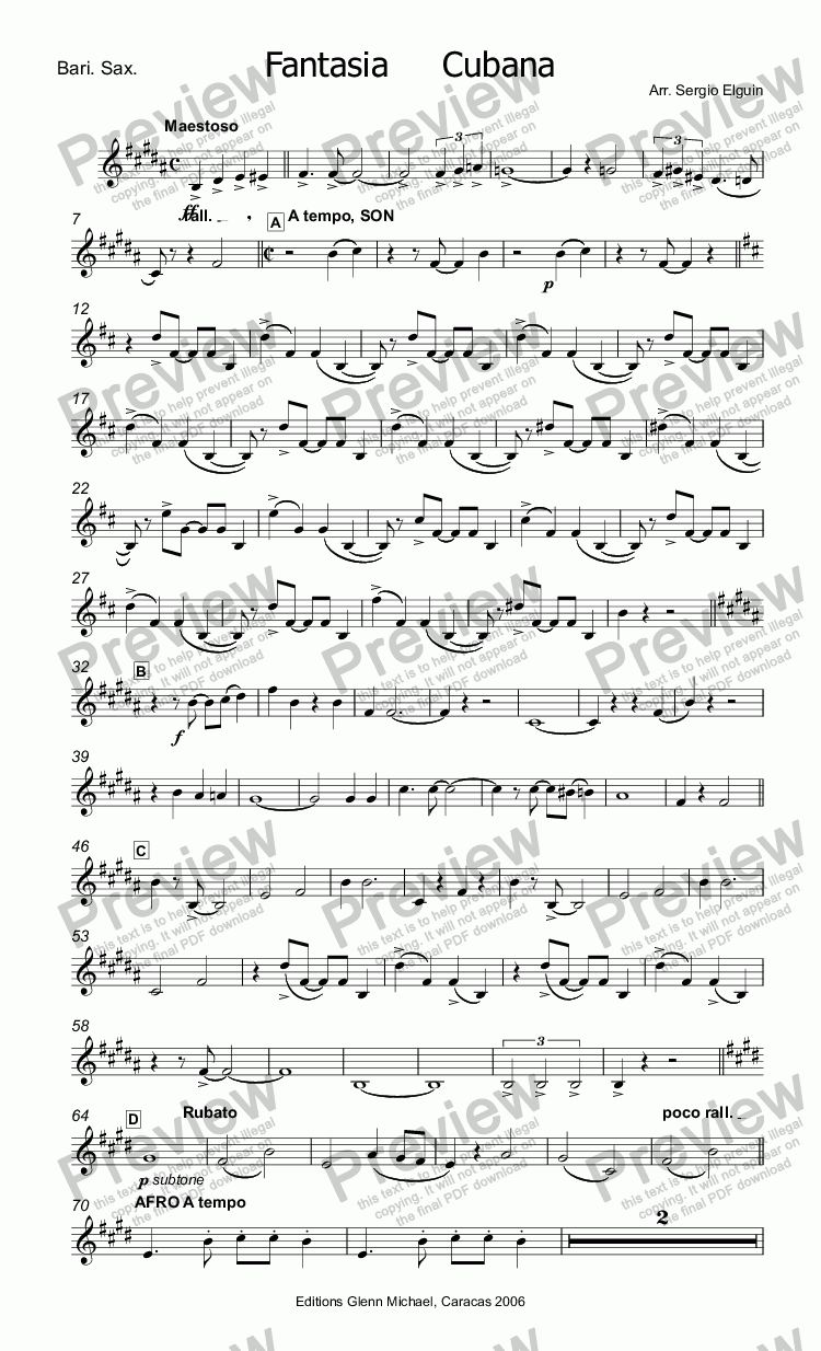 page one of the Bari. Sax. part from Cuban Fantasy