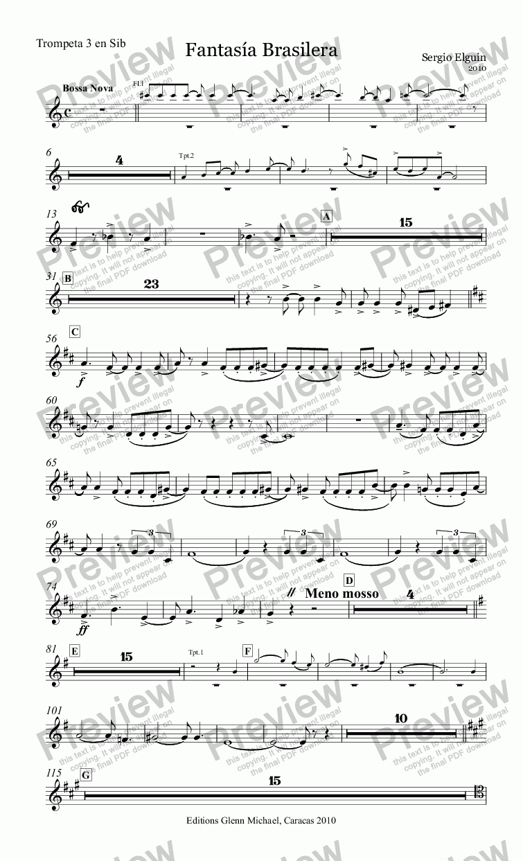 page one of the Trompeta 3 en Sib part from Brazilian Fantasy