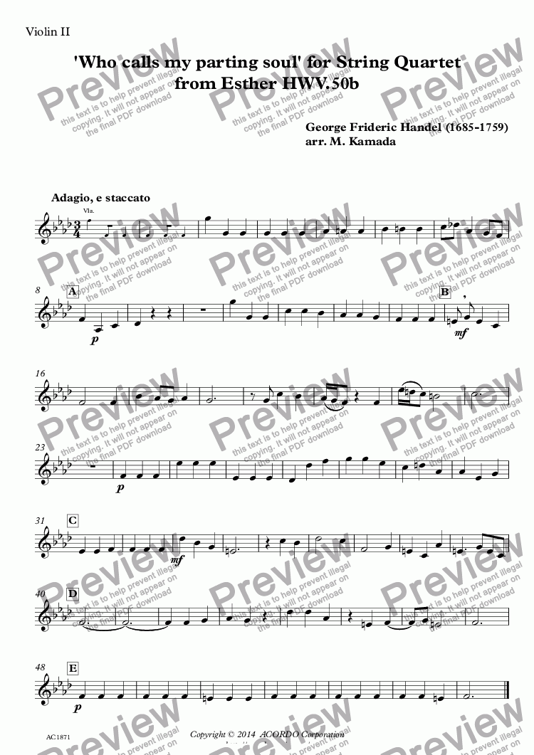 page one of the Violin II part from 'Who calls my parting soul' for String Quartet from Esther HWV.50b