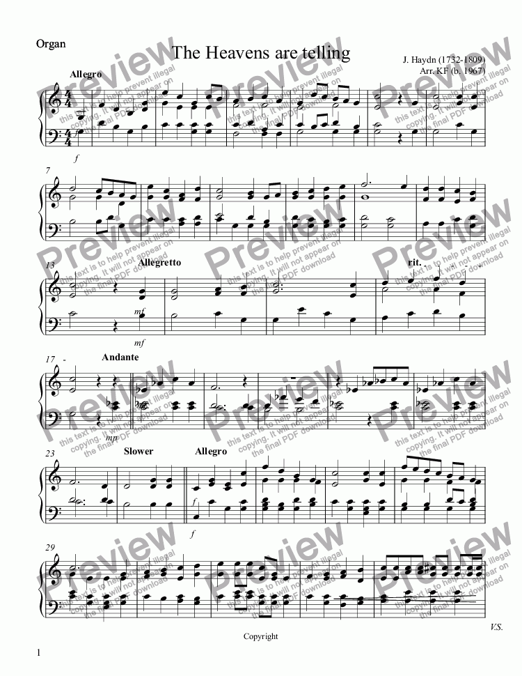 page one of the Organ part from The Heavens are telling - Organ
