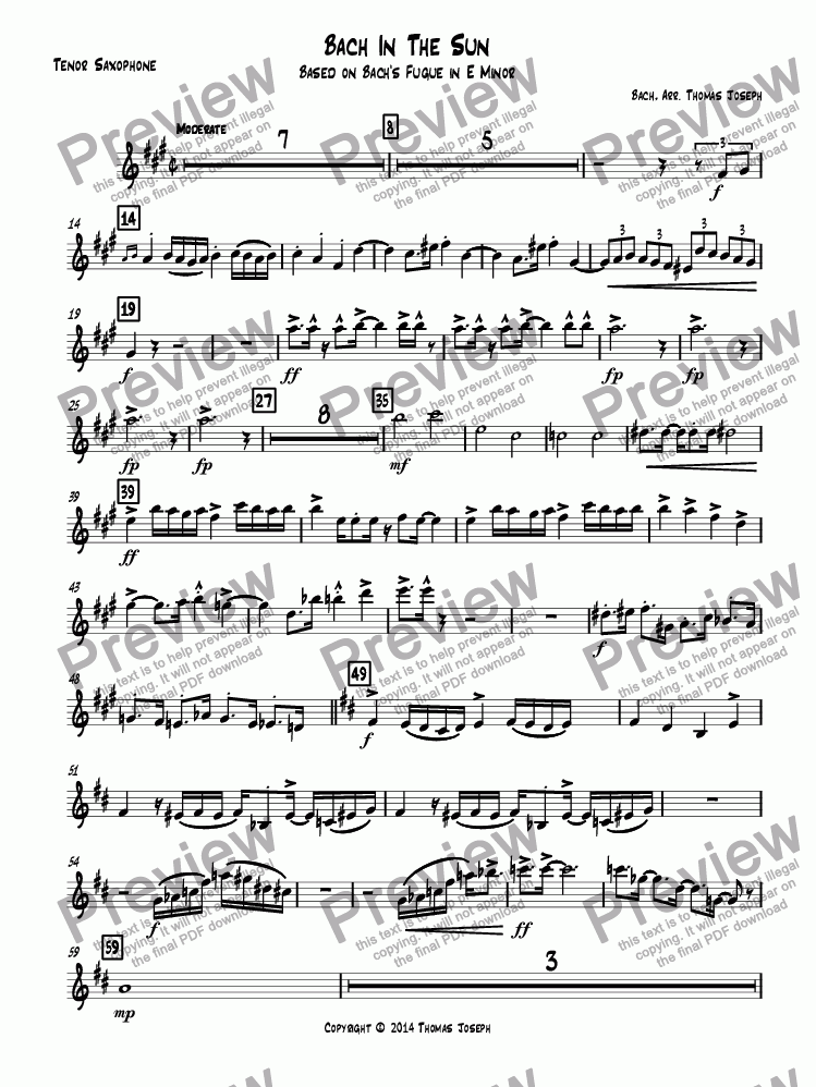 page one of the Tenor Saxophone part from Bach In The Sun