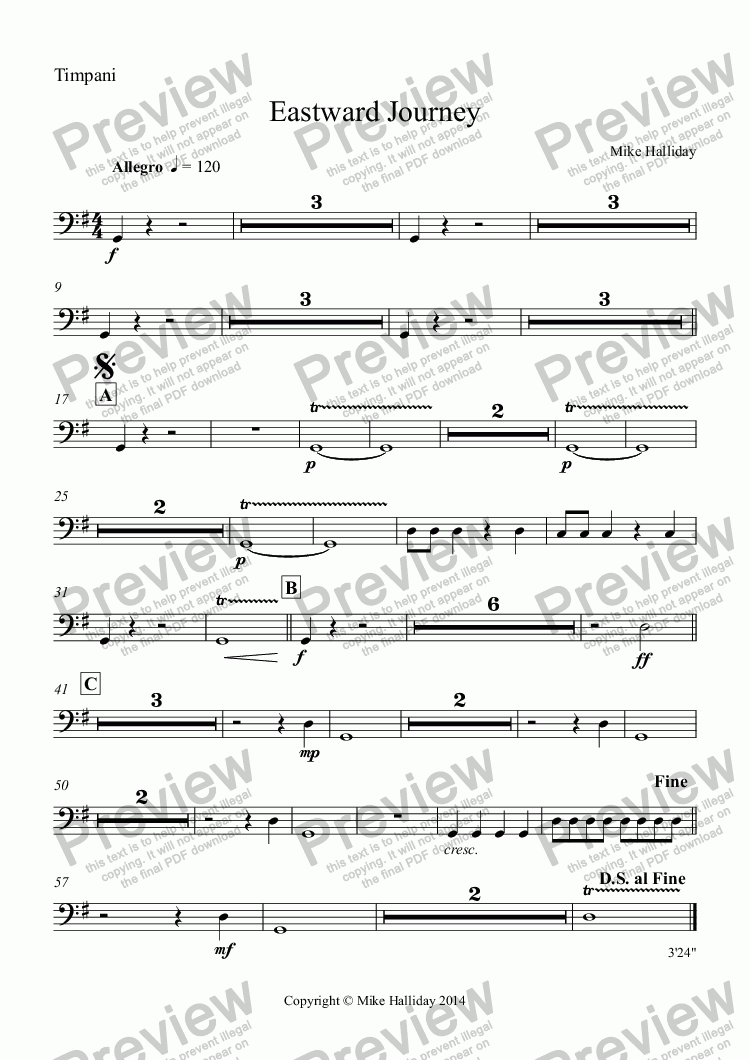 page one of the Timpani part from Eastward Journey