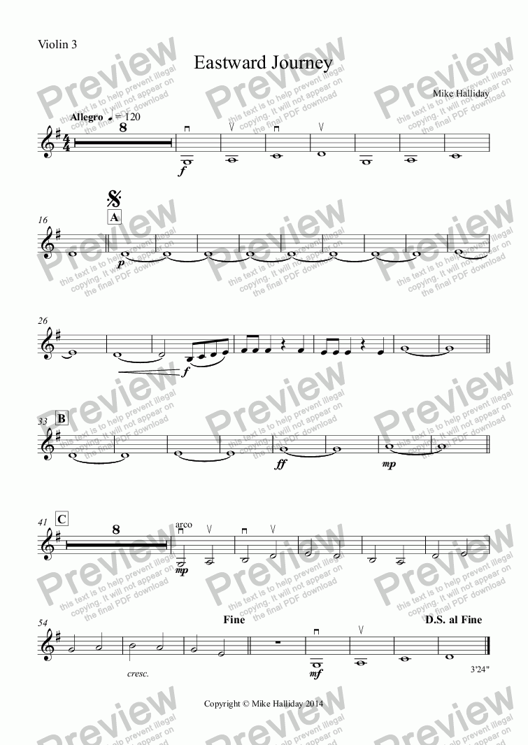 page one of the Violin 3 part from Eastward Journey