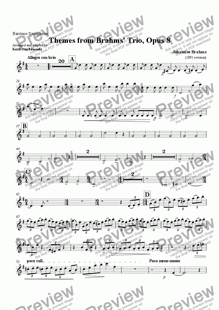 page one of the Baritone Saxophone part from Themes from Brahms' Trio Opus 8