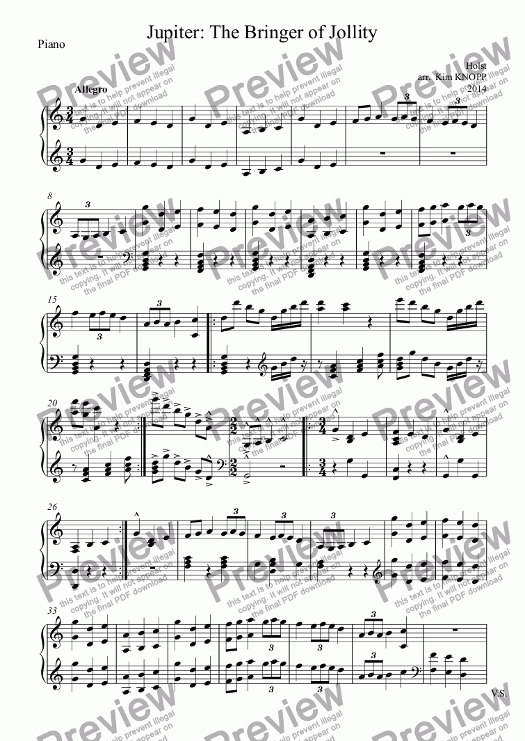 page one of the Piano part from Jupiter: The Bringer of Jollity