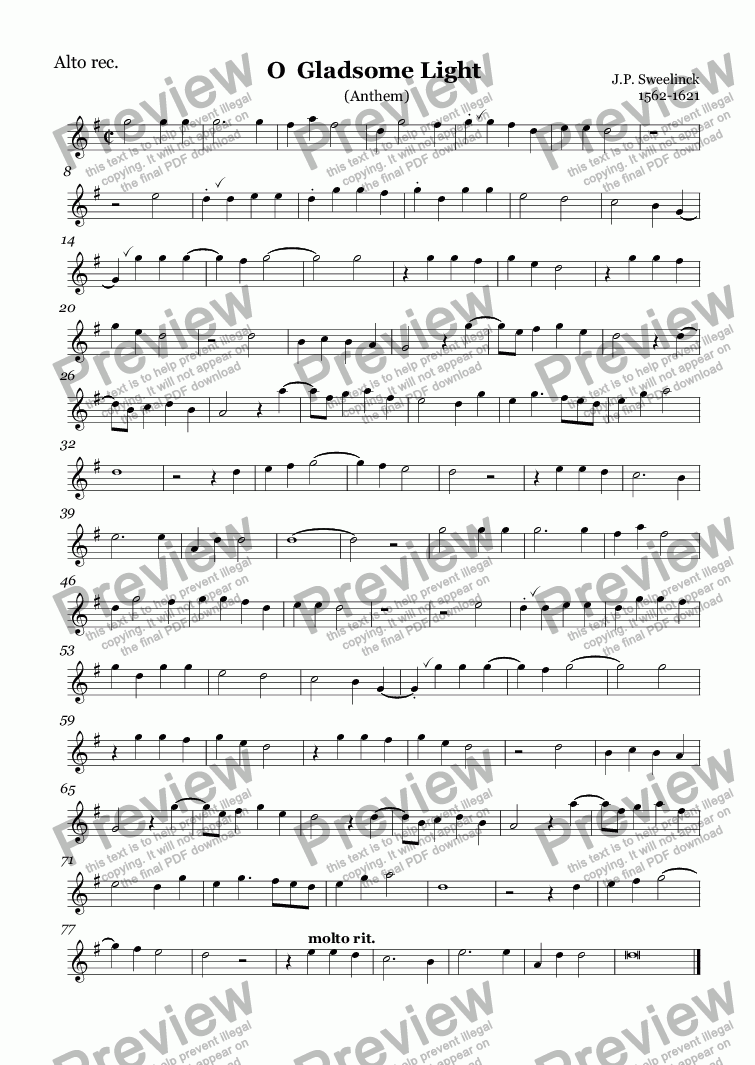 page one of the Alto rec. part from O  Gladsome Light (Sweelinck)
