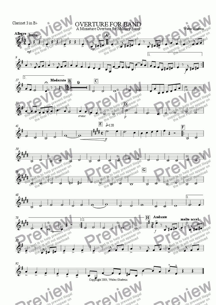 page one of the Clarinet 3 part from Overture For Band