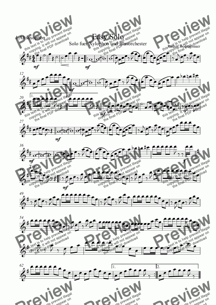 page one of the 1.Altsaxophon part from Easy Solo  Xylophon und Blasorchester