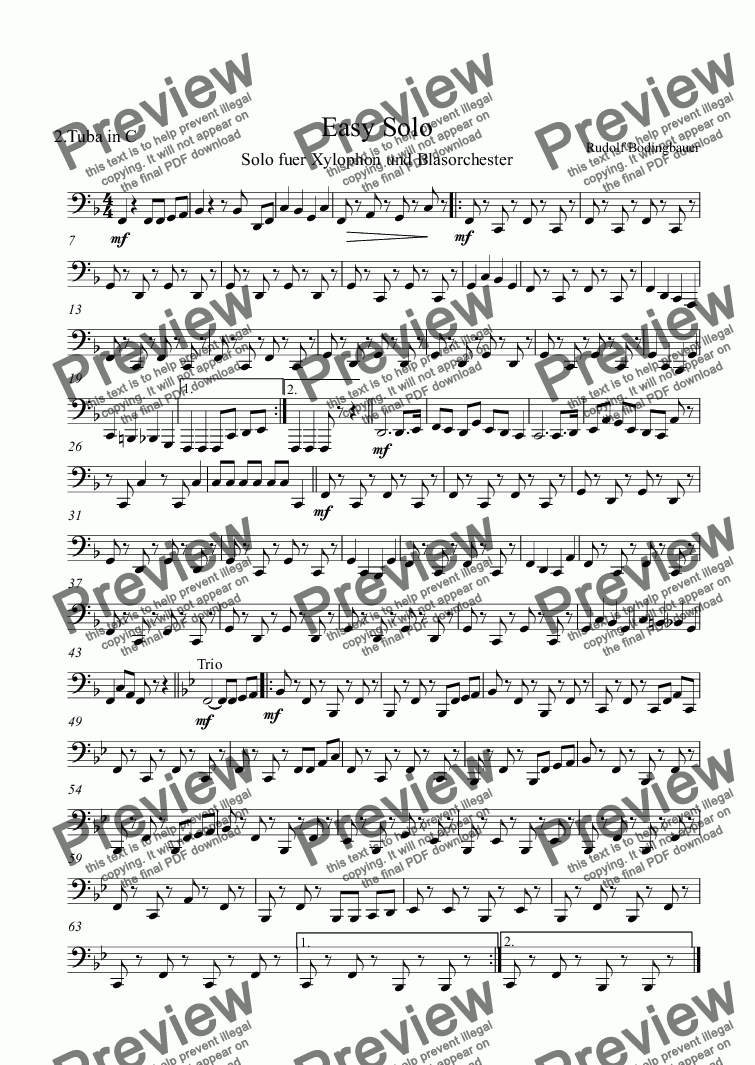 page one of the 2.Tuba in C part from Easy Solo  Xylophon und Blasorchester