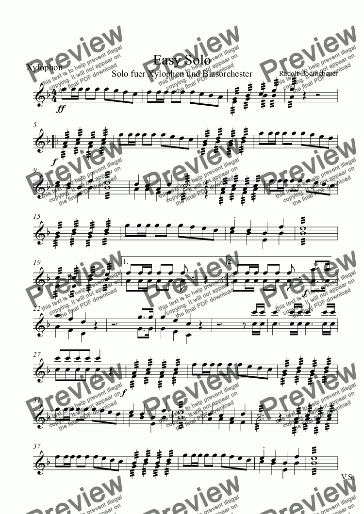 page one of the Xylophonsolo part from Easy Solo  Xylophon und Blasorchester