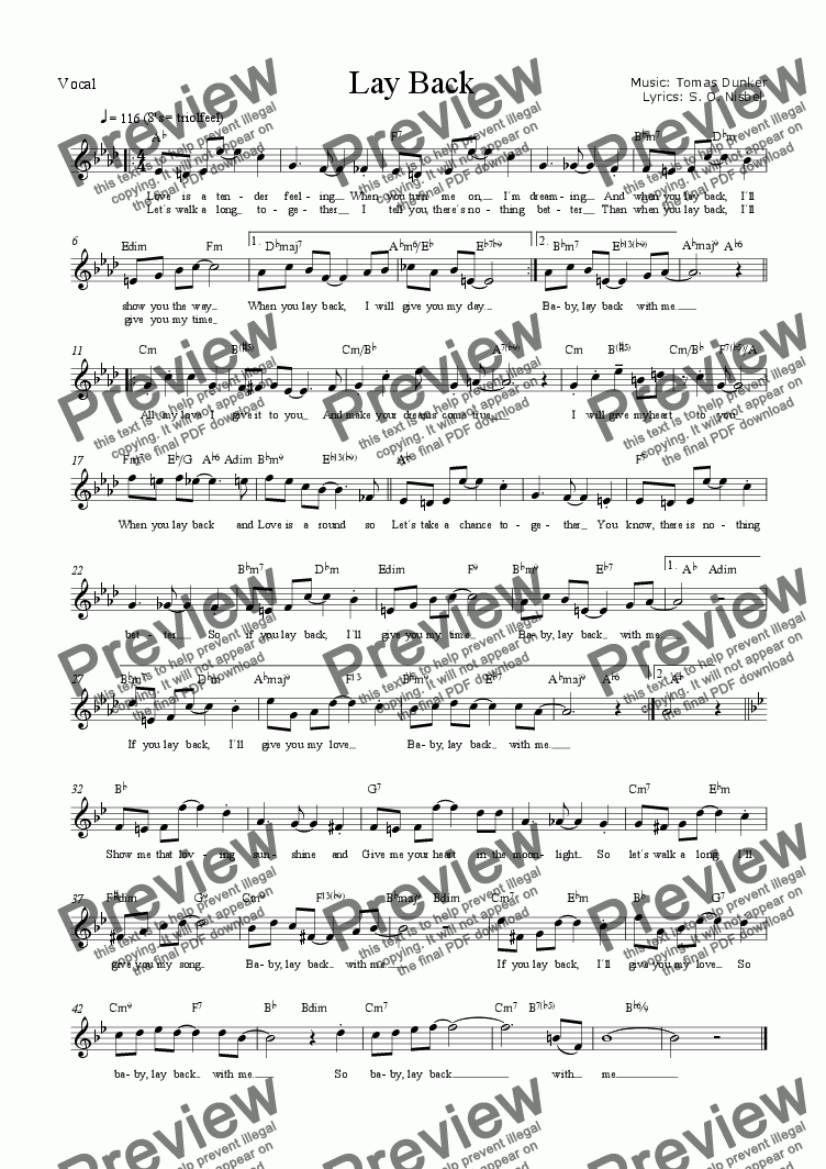 page one of the Vocal (w/chord symbols) part from Lay Back (Vocal solo w/piano and opt bass/drums)