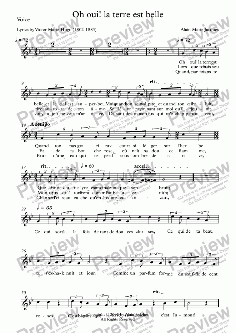 page one of the Voice part from Oh oui! la terre est belle (Alain Jacques / Victor Hugo)