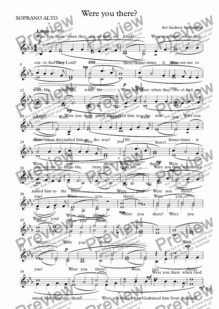 page one of the SOPRANO ALTO part from Were you there?
