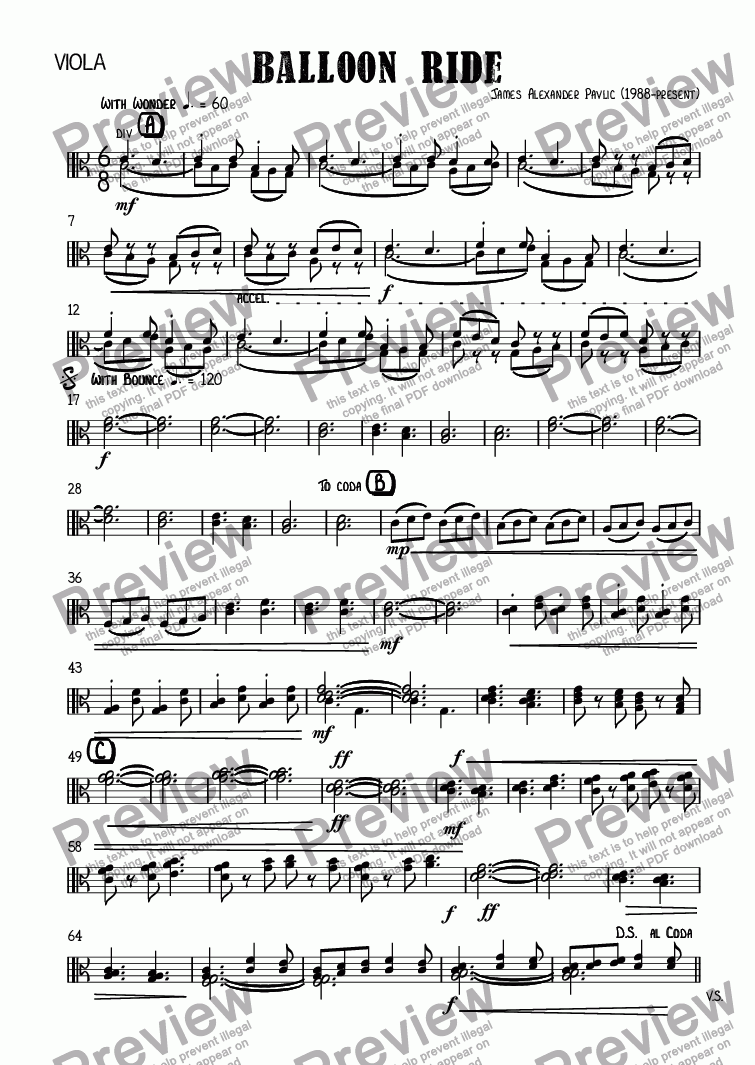 page one of the Viola part from Balloon Ride