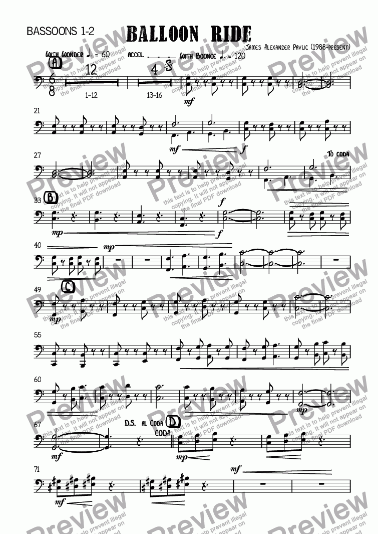 page one of the Bassoons 1-2 part from Balloon Ride