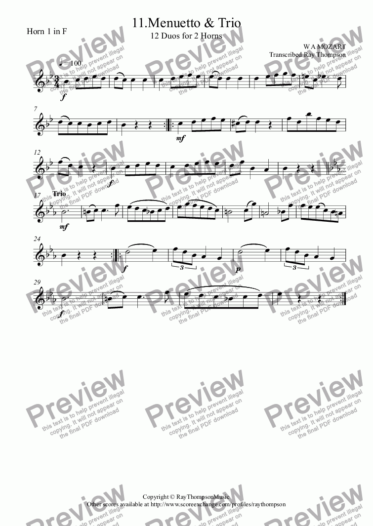 page one of the Horn 1 in F part from Mozart: 12 Duets for Horn KV487: 11.Menuetto & Trio (French Horn Duet)