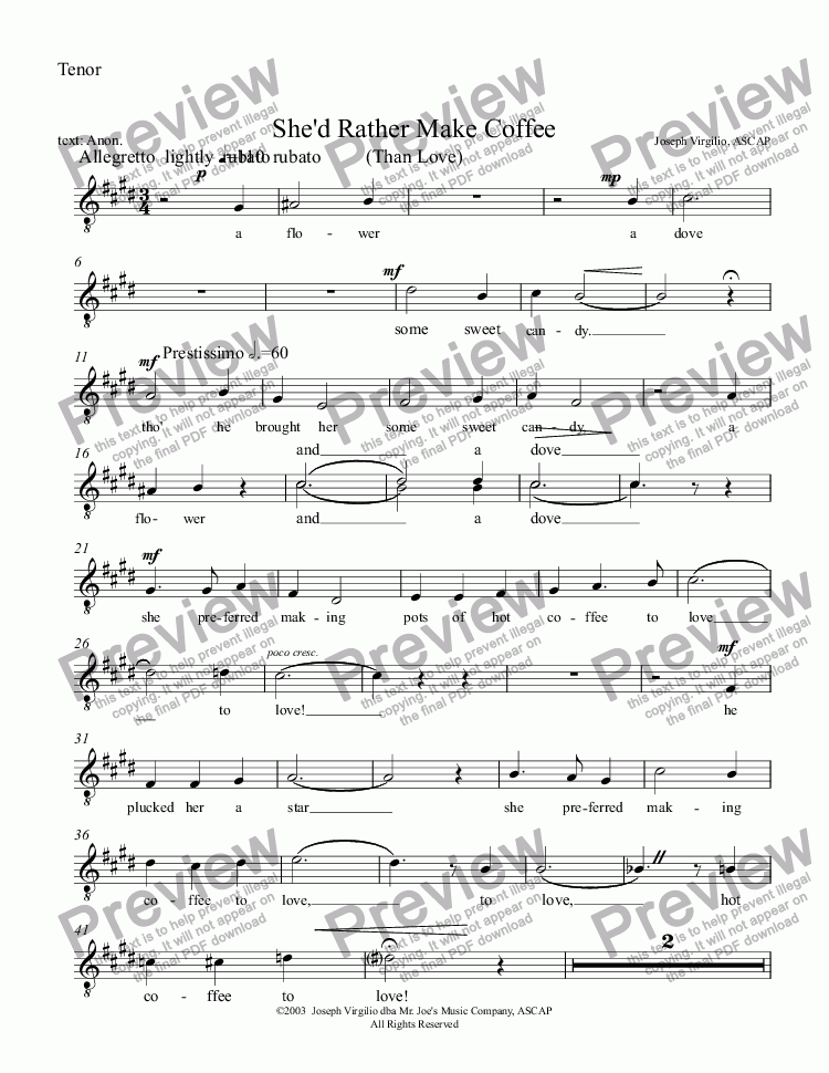 page one of the Tenor part from :011 Opus: She'd Rather Make Coffee Than Love - revised 2012 [TTBB]