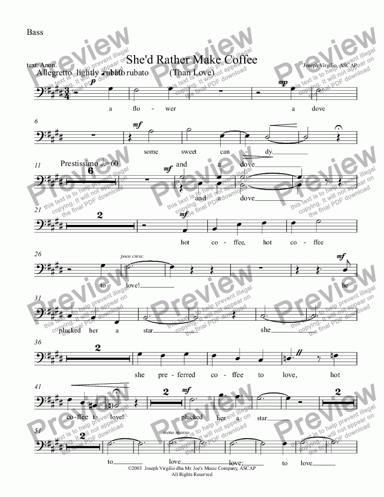 page one of the Bass part from :011 Opus: She'd Rather Make Coffee Than Love - revised 2012 [TTBB]