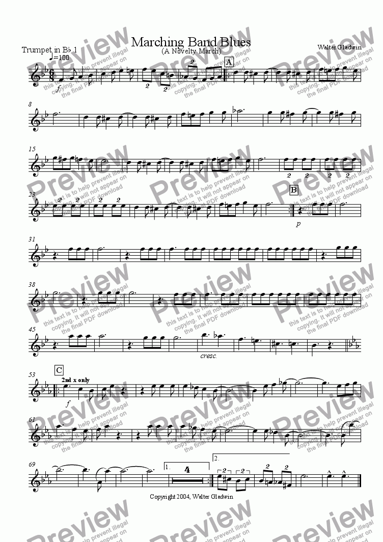 page one of the Trumpet 1 part from Marching Band Blues