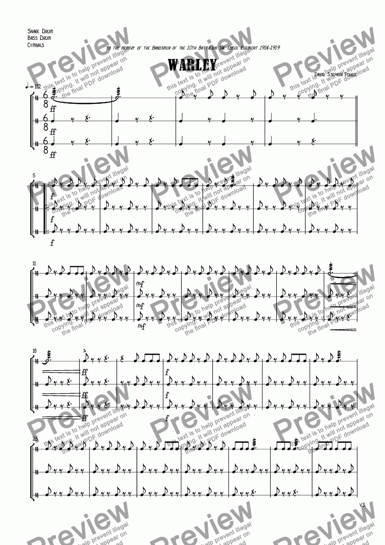 page one of the Snare Drum, Bass Drum, Cymbals part from Warley