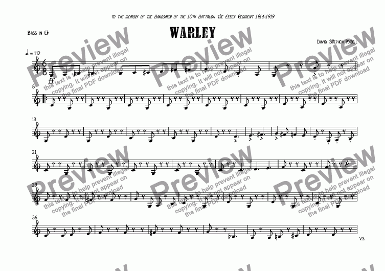 page one of the Bass in E^b part from Warley