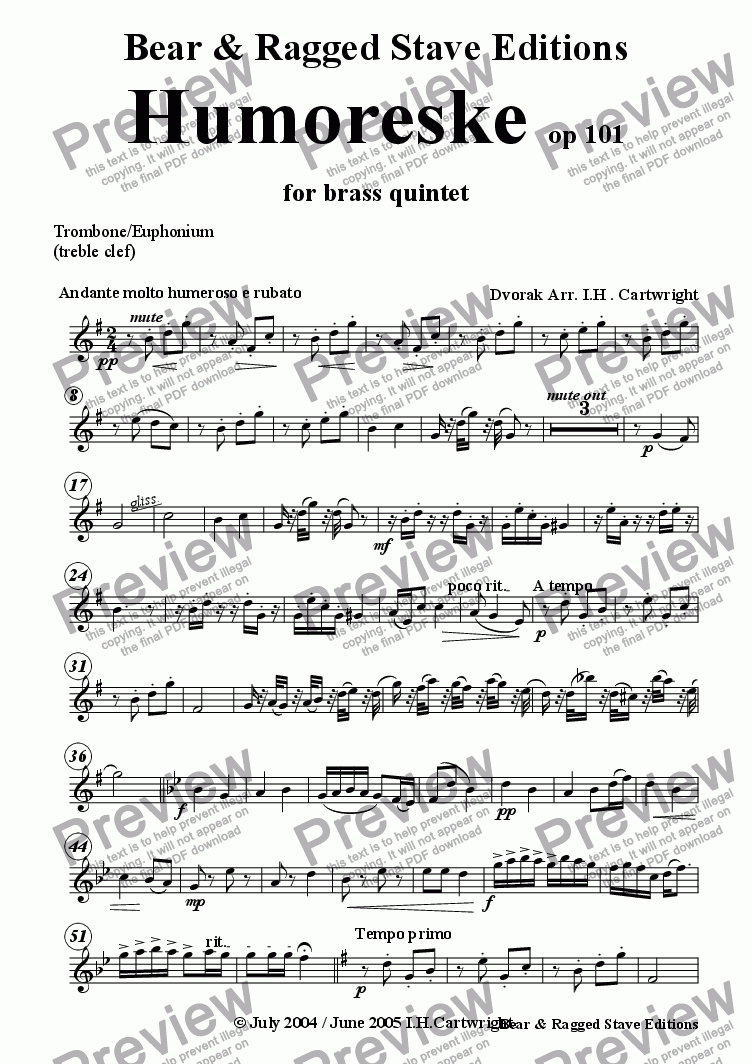page one of the Trombone/Euphonium (treble clef) part from Humoreske for brass quintet