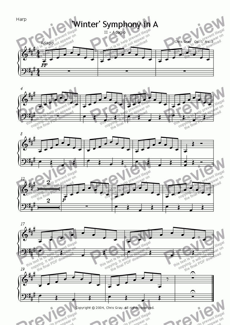 "page one of the Harp part from ""Winter"" Symphony no.1 Op.1, 2nd mvt. - Adagio"