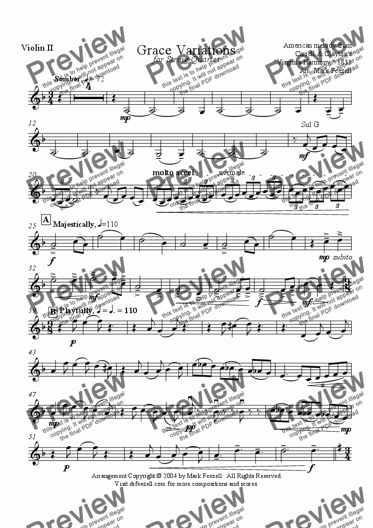 page one of the Violin II part from Amazing Grace Variations - Arrangement for string quartet (2004)