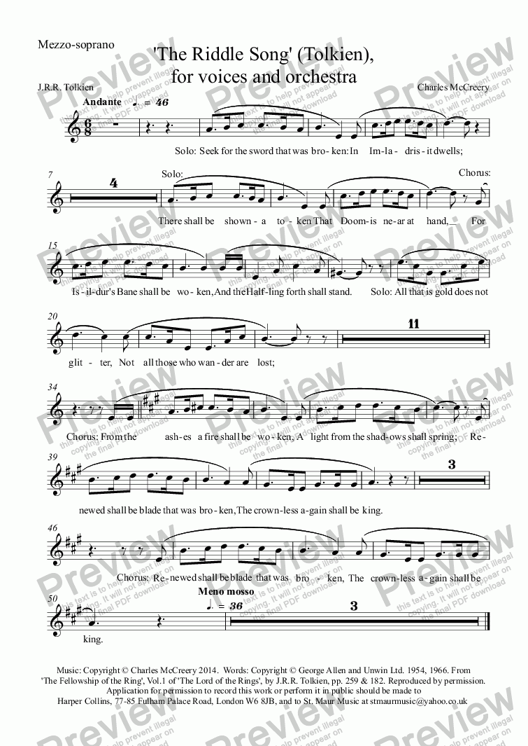page one of the Mezzo-soprano part from 'The Riddle Song' (Tolkien), for voices and orchestra