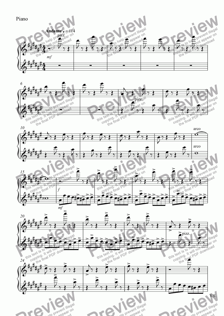 page one of the Piano part from Piano No.8